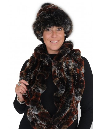 Tuque et foulard rex gris noir rouille