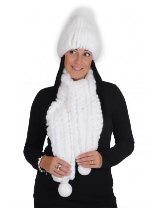 Tuque et foulard rex blanc et laine