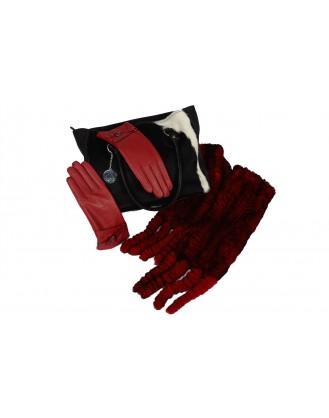 Sac à main liège et veau, gants cuir, foulard lapin rex rouge