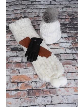 Foulard rex blanc, tuque laine, gants cuir