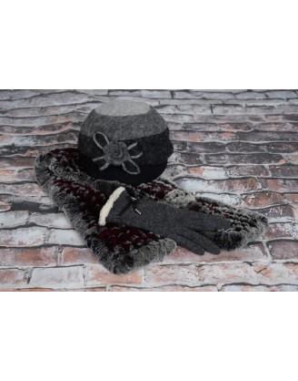 Chapeau laine, foulard rex, gants laine