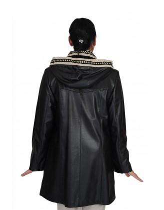 Cuir noir et beige+capuchon détachable style AM1021