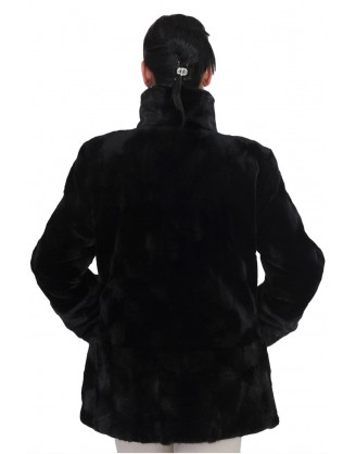 Ovals de vison rasé et long poil noir style EURO 6349