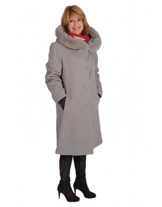 Laine et cashmere couleur pierre+capuchon garni renard style MJ 2225897