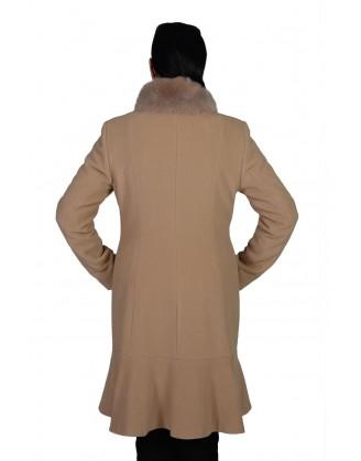 Laine couleur chameau col renard style MA 4671