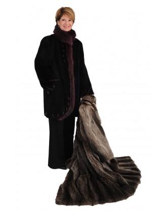Raton laveur rasé et teint noir recyclé garni raton laveur framboise style FO4 77