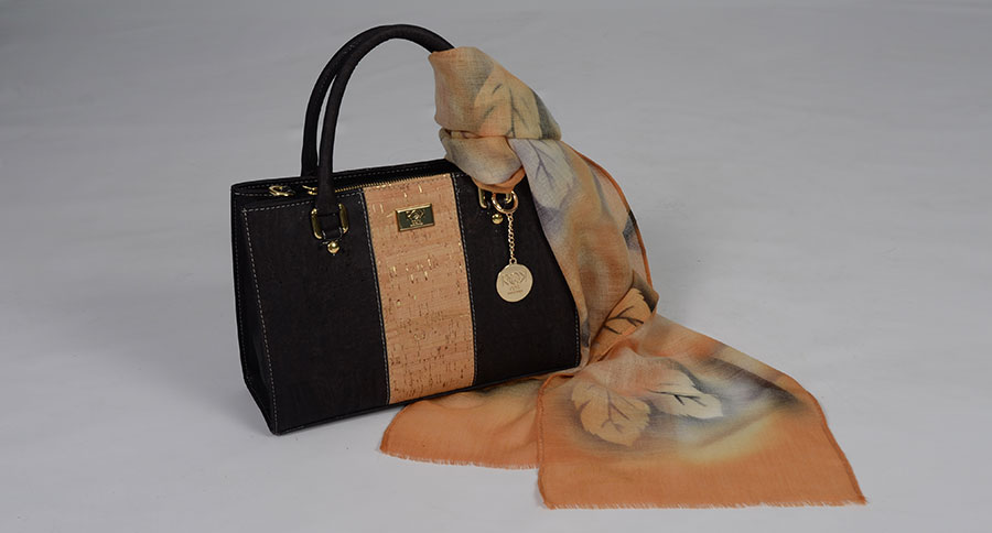 Sac à main liège, foulard peint main style ROK 702313